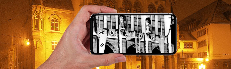 Erfurter Rathaus im Hintergund und ein Handy in der Hand was das Rathaus zu NS-Zeiten zeigt.