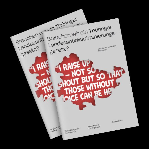 Das Projekt [CoRa] hat eine Broschüre zu einem möglichen Landesantidiskriminierungsgesetz in Thüringen veröffentlicht.  In vielfältigen Beiträgen nehmen Autor*innen dabei Stellung zu ihren Überlegungen für ein Landesantidiskriminierungsgesetz, weiterhin liefert die Broschüre eine Grundlage zur Erklärung von Diskriminierung.